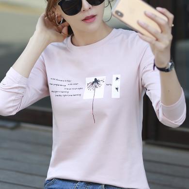 右姿 韩版圆领T恤女长袖纯棉上衣打底衫薄女上衣服