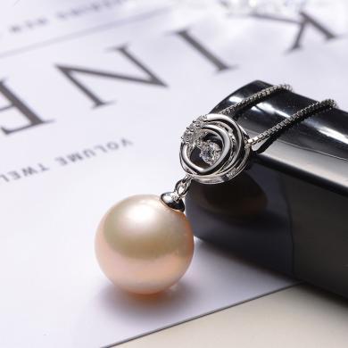 京润珍珠 炫美 13-14mm圆形 925银镶淡水珍珠吊坠  粉色爱迪生珍珠