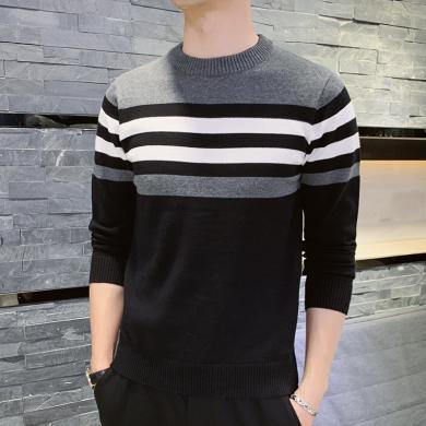 富貴鳥男裝冬季新款撞色針織衫潮流條紋圓領套頭線衫毛衣男M040