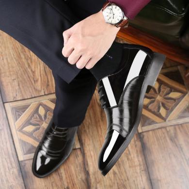 商務皮鞋2019春季新款男士休閑正裝皮鞋舒適透氣男鞋圓頭厚底鞋子35118