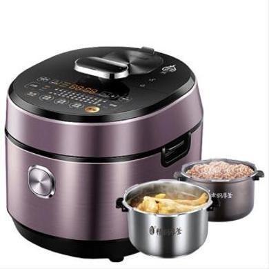 美的(Midea) 電壓力鍋 IH電磁加熱高壓力鍋 雙膽 鋼膽5L高壓鍋 可中途加菜 HT5077P