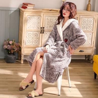 锦序冬季时尚舒适休闲保暖法兰绒女士长袖长款家居睡袍