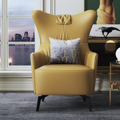 慕梵迪 休閑椅 現代輕奢 實木框架+布藝+高回彈海綿+不銹鋼電鍍五金 AC018