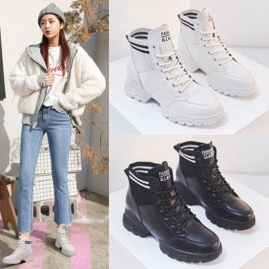 森馬女鞋2019冬季秋款網紅新款英倫風秋鞋百搭加絨短靴子增高馬丁靴LP-103-9