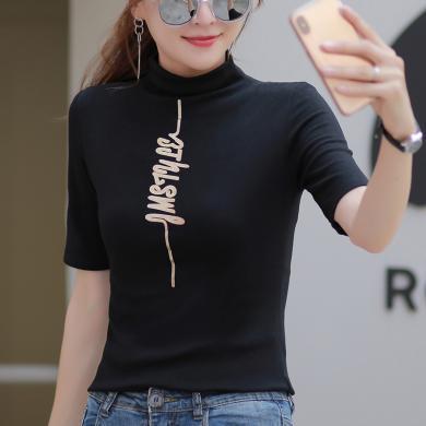 2019新款內搭修身打底衫女裝ins潮韓版中袖t恤女半高領