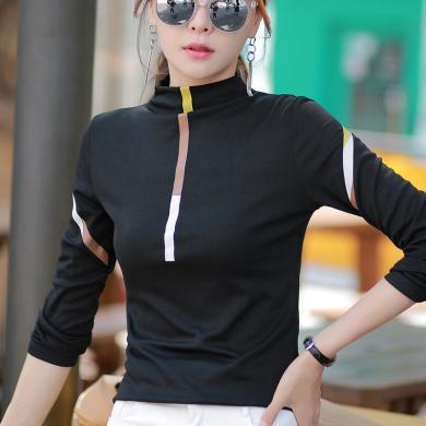 右姿 新款純棉上衣服黑色長袖T恤女半高領內搭修身打底衫ins