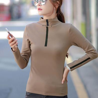 秋季新品韓版純棉半高領長袖t恤女打底衫拼接T恤修身上衣