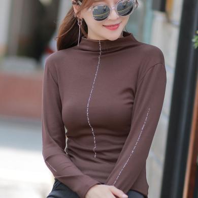 右姿 秋裝半高領棉質長袖T恤女打底衫修身新款韓版小衫內搭上衣服