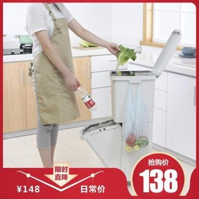 百露35L双层垃圾分类垃圾桶厨房大号干湿分类出日本垃圾箱