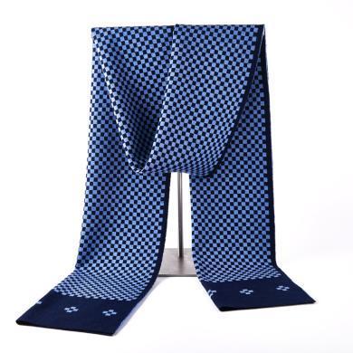 藍天龍羊毛圍巾男新款秋冬季高檔針織圍脖男生日禮物百搭商務潮(0742)