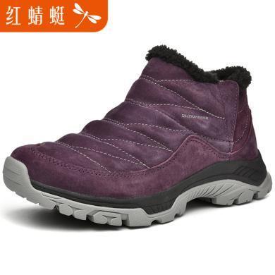 紅蜻蜓短靴女鞋冬季時尚休閑情侶保暖棉鞋C0191604