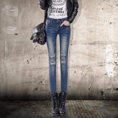 搭歌2020春季新款牛仔鉛筆褲女長褲修身顯瘦牛仔褲女小腳褲子W6105