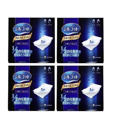 【支持购物卡】【4盒装】日本Cosme大赏Unicharm尤妮佳1/2省水卸妆棉化妆棉40枚/盒*4 棉柔亲肤