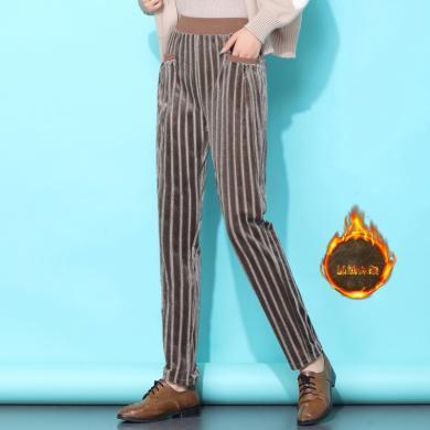妙芙琳  2019冬季女裝新款長褲加絨加厚絲絨褲褲子女韓版寬松蘿卜哈倫褲女