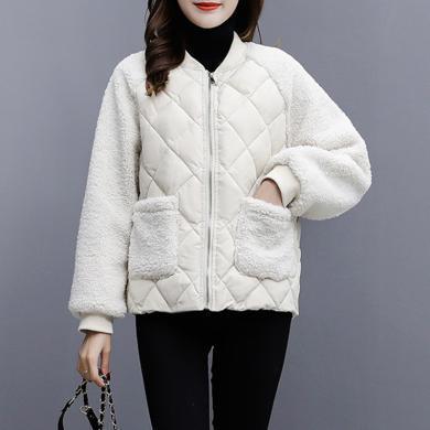 亿族 轻薄棉服女短款冬季新款韩版宽松羊羔毛拼接棉衣小棉袄外套