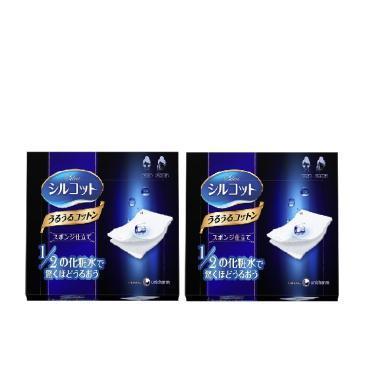【支持购物卡】【【2盒装】日本Cosme大赏Unicharm尤妮佳1/2省水卸妆棉化妆棉40枚/盒*2 棉柔亲肤