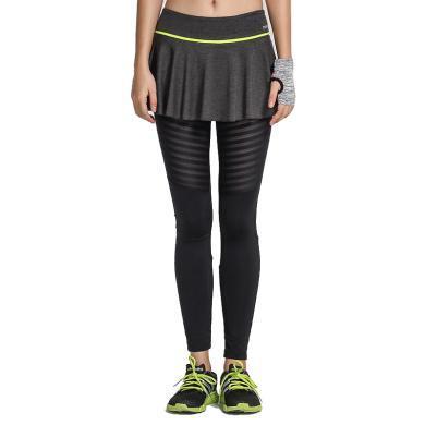 zoano佐纳 紧身运动裙裤女修身瑜伽裤弹力跑步健身裤速干修身显瘦假两件长裤