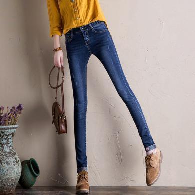 搭歌2020春季新款韩版潮范弹力修身小脚裤女士牛仔裤WM1702