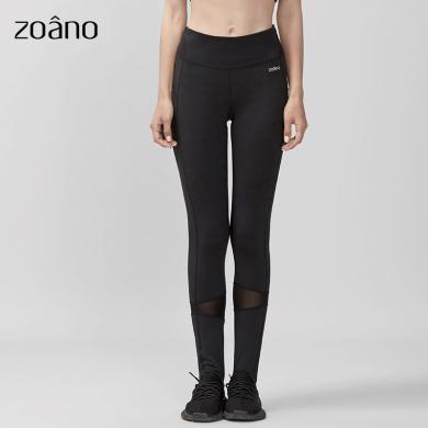 zoano佐納 瑜伽服健身褲速干運動長褲踩腳女網紗透氣彈力緊身舞蹈褲