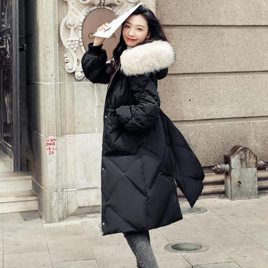 蘇醒的樂園黑色羽絨服女冬新款韓版時尚氣質大毛領白鴨絨顯瘦外套中長款YRFl9010