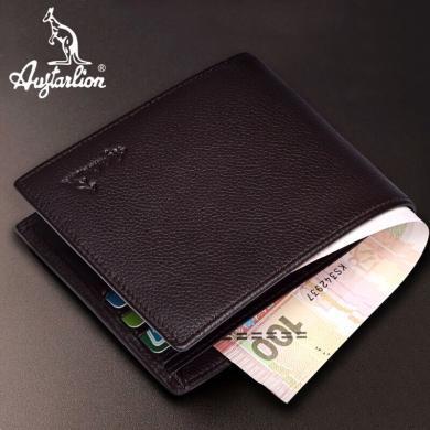 澳洲袋鼠正品男士钱包真皮男短款钱夹