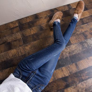 搭歌牛仔裤女2020春季新款韩版显瘦弹力小脚裤学生铅笔裤子WM1707