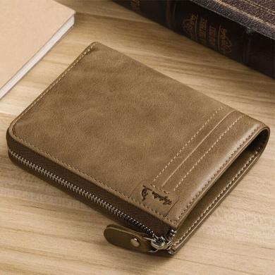 澳洲袋鼠正品男士钱包短款头层牛皮钱夹竖款拉链皮夹
