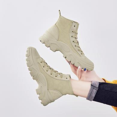 西瑞新款英倫風休閑短靴系帶潮流百搭馬丁靴工裝女靴YC-K802