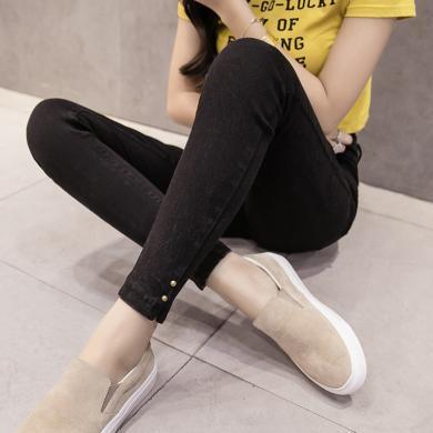 修允菲秋冬季新款彈力小黑褲外穿顯瘦大碼高腰鉛筆褲魔術褲女B4878