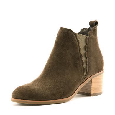 百田森 PYQ17815 冬季短靴高跟女粗跟防水臺磨砂靴子切爾西靴