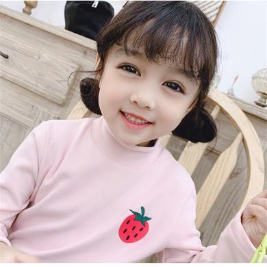 瀾囝囡 秋冬德絨面料半高領打底衫韓版中小童洋氣水果T恤  19111-水果