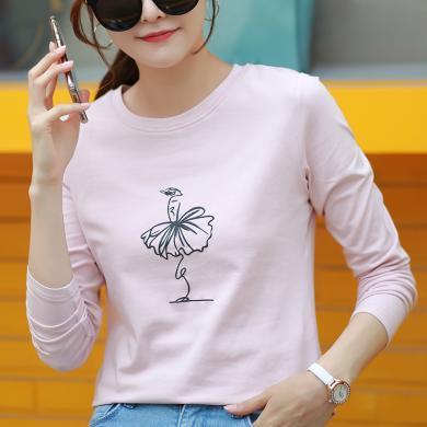 右姿 新款長袖T恤女寬松個性韓版學生簡約秋季薄款休閑上衣