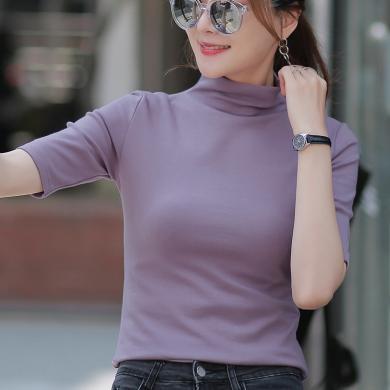右姿 秋款半高領內搭中袖T恤女潮ins修身純色打底衫超火