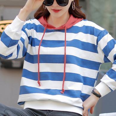 右姿 新款女長袖韓版寬松條紋拼接簡約休閑原宿風上衣衛衣連帽
