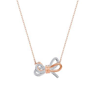 現貨 Swarovski/施華洛世奇女士時尚氣質雙色蝴蝶結鎖骨項鏈5440636