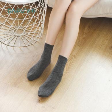 大樸A類高筒長襪子女士絞花羊毛襪素色款加厚保暖女襪3雙裝