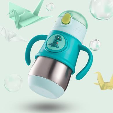 TOMOTREE儿童保温奶瓶316宝宝吸管防溢婴儿学饮卡通带?#30452;?#27700;杯子【绿色】