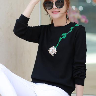 右姿 新款潮韓版秋裝黑色衛衣女寬松慵懶風薄款長袖t恤女圓領