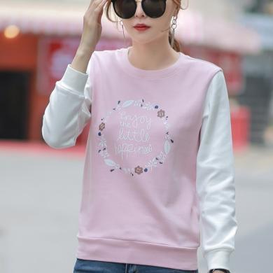 右姿 新款韓版時尚少女T恤薄款寬松長袖T恤女拼接套頭