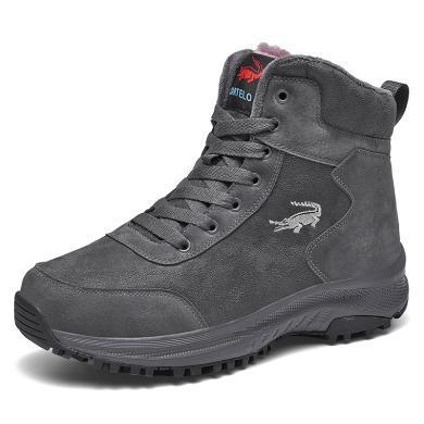 卡帝乐鳄鱼2019冬季靴子男士加绒保暖高帮棉鞋运动休闲棉靴东北雪地靴男QH3005
