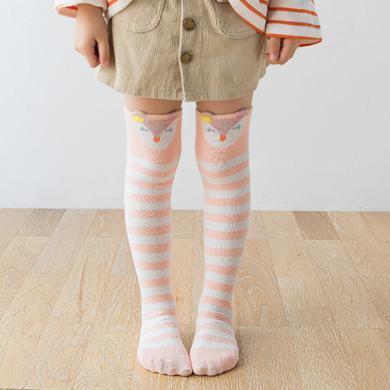 ocsco 秋季新款卡通中筒條紋女童襪甜美可愛長筒過膝棉襪