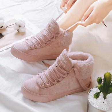 人本網紅冬季短靴女棉鞋 韓版加絨保暖短筒棉靴 加厚高幫翻毛女鞋