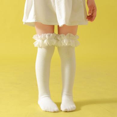 ocsco 秋冬新款蓬蓬紗中筒女寶寶襪子棉質兒童純色襪子長筒棉襪