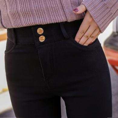 修?#21490;?#31179;冬季新款打底裤外穿九分铅笔小脚高腰修身显瘦长裤女B4842
