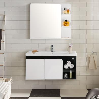 JOMOO九牧PVC浴室柜组合洗漱台洗脸盆浴室储物柜化妆镜A2171套餐(包安装)