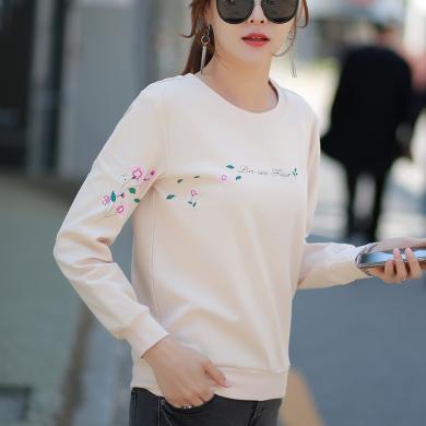 右姿 新款秋裝純棉長袖T恤女打底衫薄款內搭寬松韓版百搭秋衣上衣