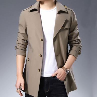 花花公子贵宾 春秋新款中长款男装西装领风衣外套韩版修身夹克?#21271;?#27454;