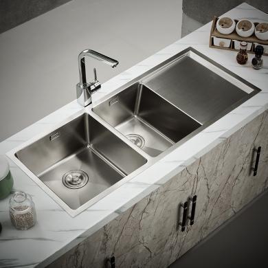九牧水槽套餐304不銹鋼雙槽廚房家用水池洗菜池洗碗池06070-7Z-1套裝(包安裝)