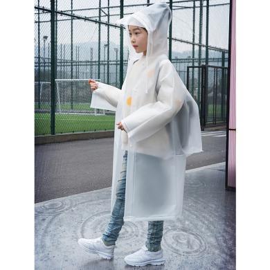 ocsco 女童雨衣新款兒童背包雨披中長款連帽雨衣寬松顯瘦雨披單排扣雨衣