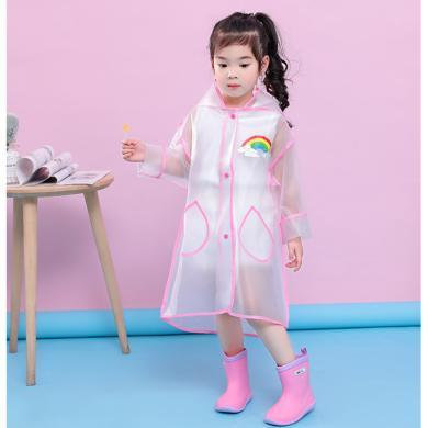 ocsco 儿童透明时尚雨衣新款防雨男童中长款雨衣女童连帽雨披EVA包边